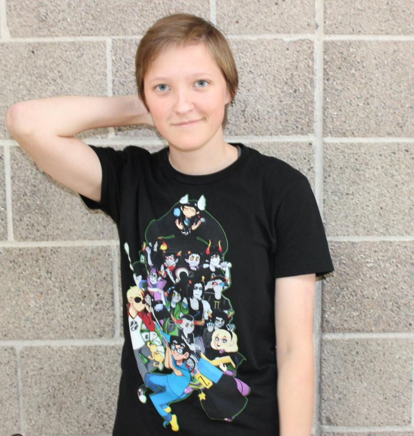 A.R. Morel poses while wearing a Homestuck t-shirt. Morel said, If you get me started on a topic which I am passionate about, I can go on for hours. I have probably been told to shut up more than anybody on this planet.