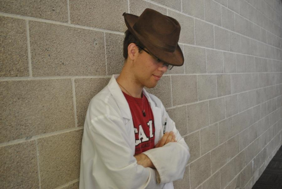 Peter McLeod boldly shows his style of dress. He began wearing his fedora after he began wearing a lab coat. Photo taken by Jakob Woo-Ming.