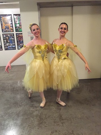 Dressed as a flower, Arielle Taylor (right) poses with a friend after a performance of the Nutcracker. In addition to dancing as an opening and closing flower, she played the part of a mouse in the show. Photo curtesy of Arielle Taylor.