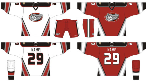 The proposed ice hockey jerseys. There will be a small patch with the Anaheim Duck's patch on it. Photo courtesy of Tiffany Wilmer.