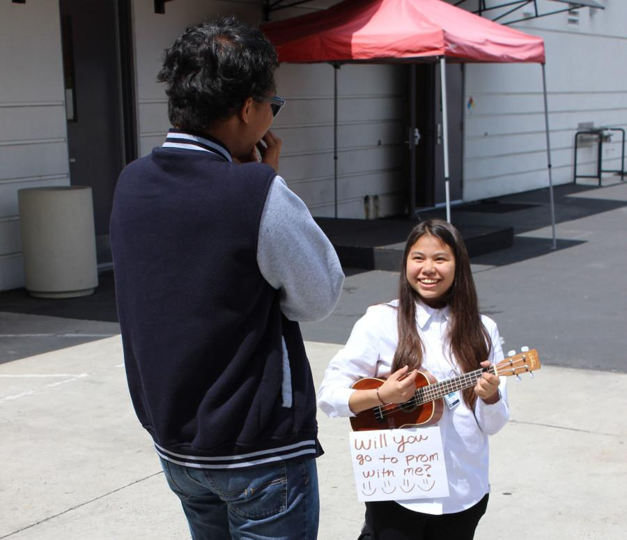 An arranged photo of a an uncommon promposal featuring a girl asking a guy to prom.