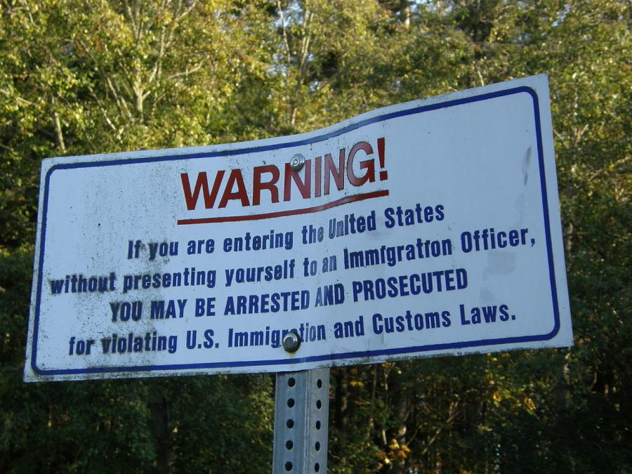 This is a warning sign on the US/Canada border.