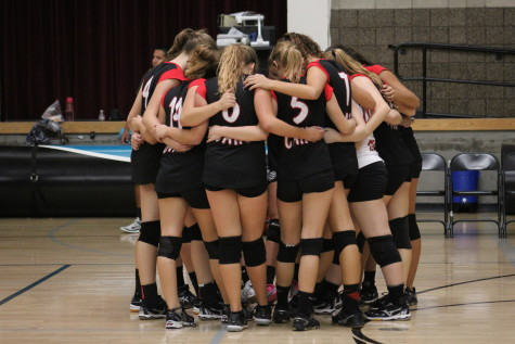 The Caiman girls volleyball team defeats the Guajome Park Academy Frogs
