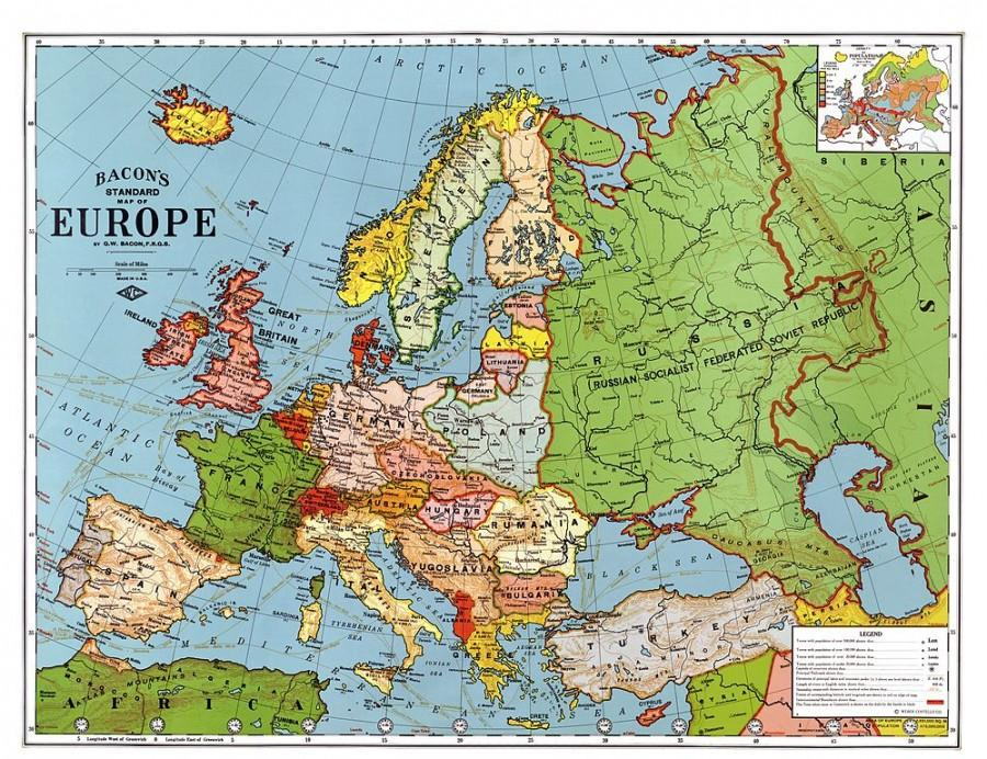 A map of Europe in 1923, courtesy of Wikimedia Commons.