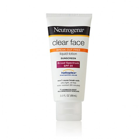 Most sunscreen brands make face to help keep your skin clear. Photo credit: http://www.neutrogena.com/product/clear+face+liquid+lotion+sunscreen+broad+spectrum+spf+30.do?sortby=ourPicks