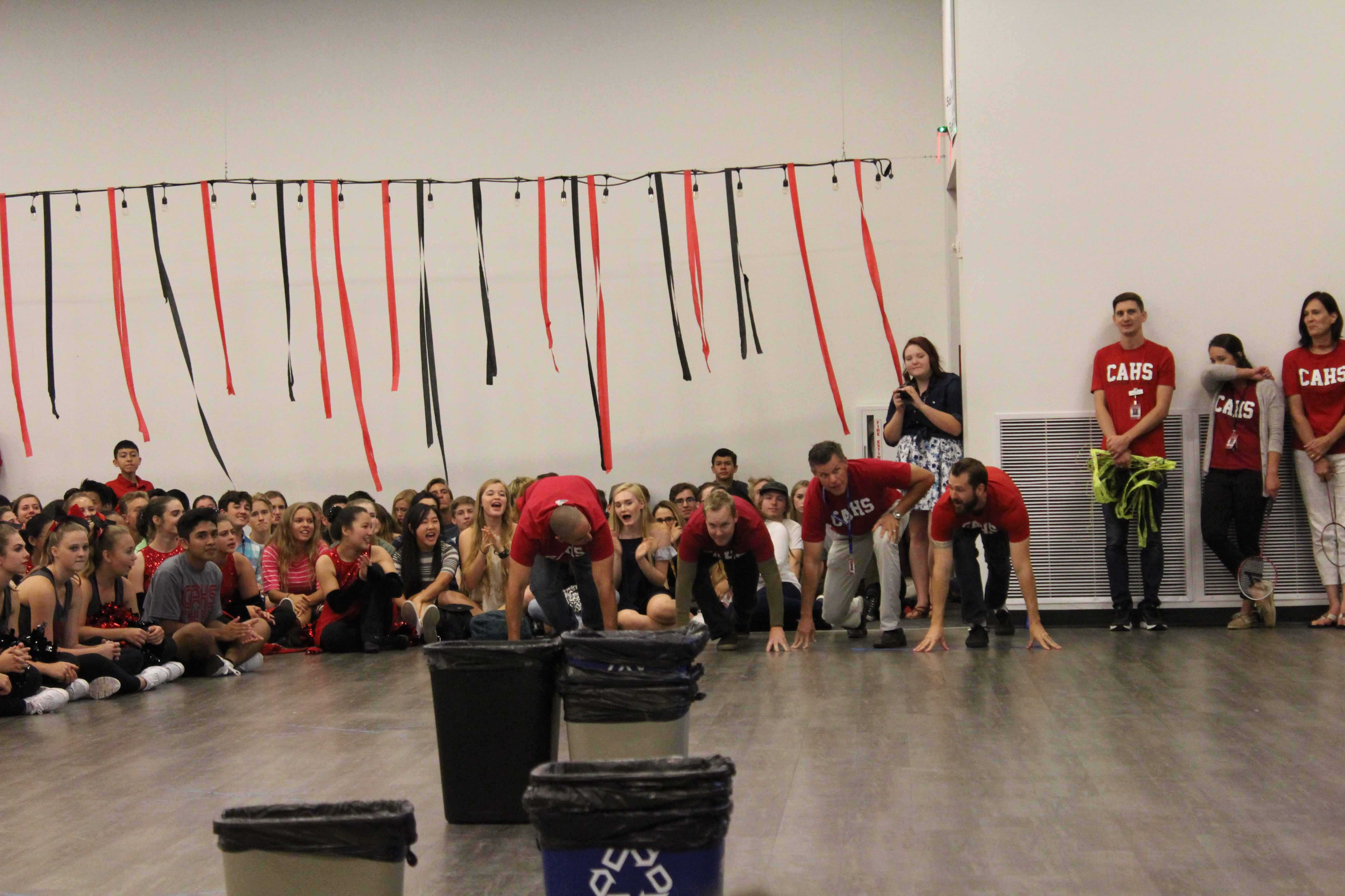 The+Social+Studies+Department+participates+in+a+trashcan-throwing+contest.+Photos+taken+by+Anastasia+Reimann.