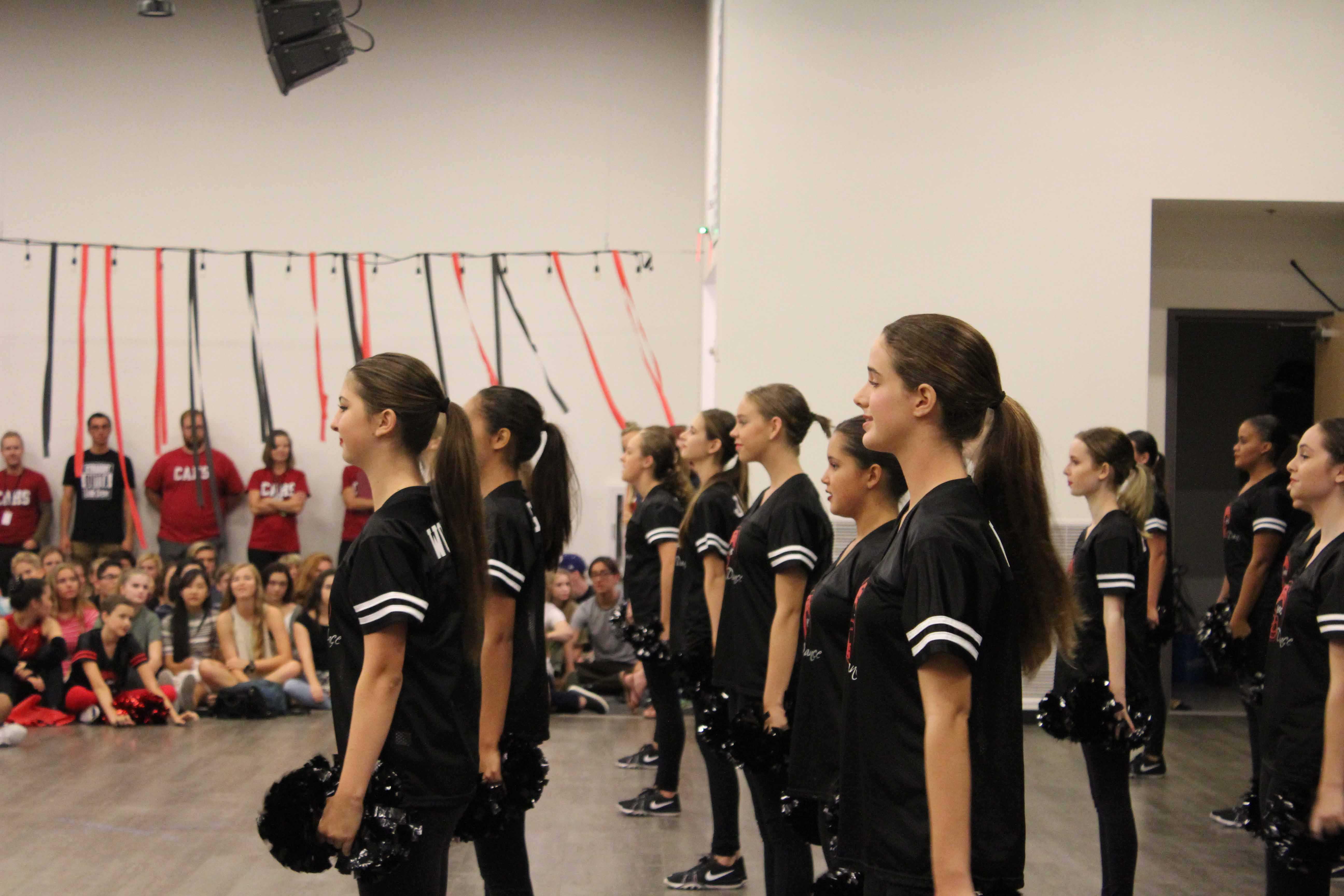 JV+Dance+Troupe+presents+its+routine.+Photo+taken+by+Anastasia+Reimann.+