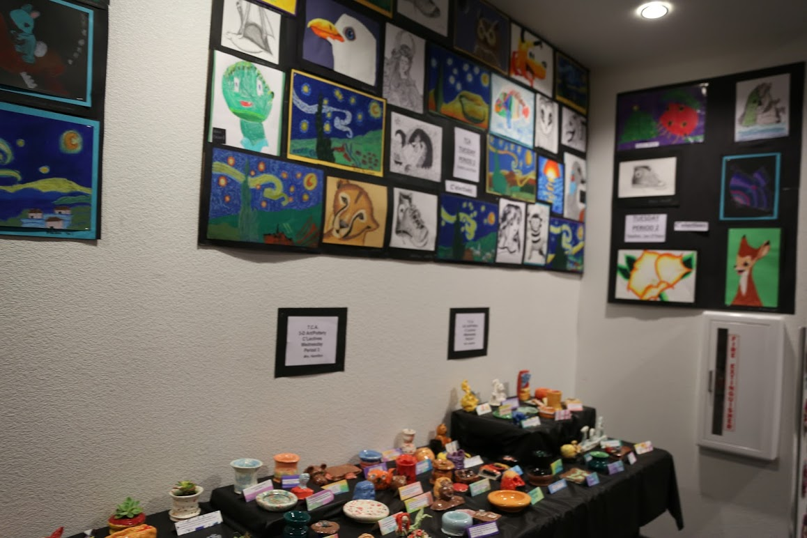 Art+from+the+Classical+Academy+K-8+is+displayed+outside+of+Caiman+Hall.+Photo+credit+Crystal+Sung.