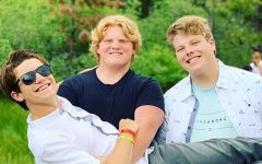 Jonah Staebell, Matthew Tillyer and Albert Pando pose at Hume Lake Summer Camps last summer.